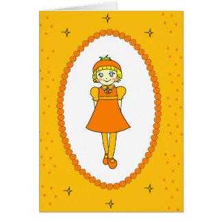 Little Orange Fruit Girl Greeting Card