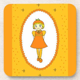 Little Orange Fruit Girl Drink Coasters