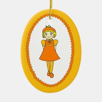 Little Orange Fruit Girl Christmas Tree Ornaments