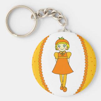 Little Orange Fruit Girl Keychain