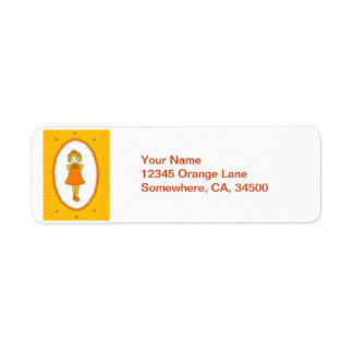 Little Orange Fruit Girl Return Address Label