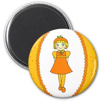 Little Orange Fruit Girl Fridge Magnets