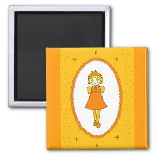 Little Orange Fruit Girl Refrigerator Magnet
