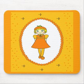 Little Orange Fruit Girl Mouse Pads