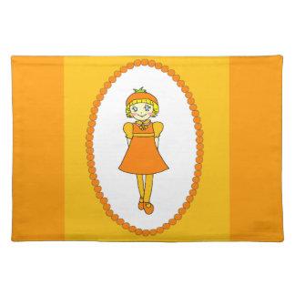 Little Orange Fruit Girl Place Mat