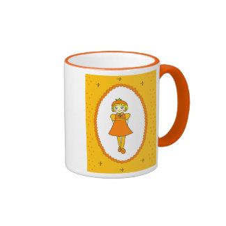 Little Orange Fruit Girl Ringer Mug