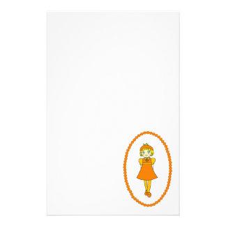 Little Orange Fruit Girl Stationery Paper