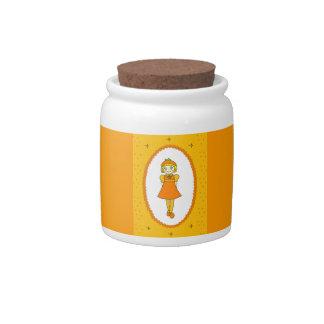 Little Orange Fruit Girl Candy Jars