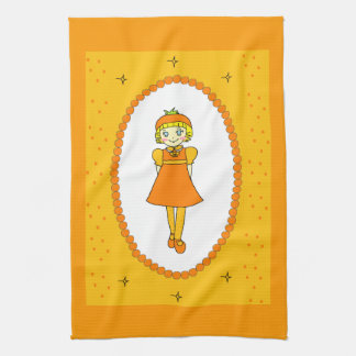 Little Orange Fruit Girl Hand Towels