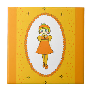 Little Orange Fruit Girl Tile