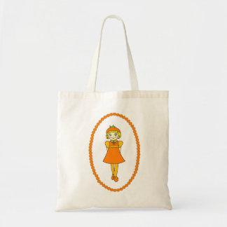 Little Orange Fruit Girl Tote Bag