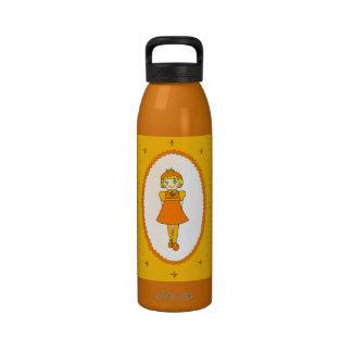 Little Orange Fruit Girl Reusable Water Bottles