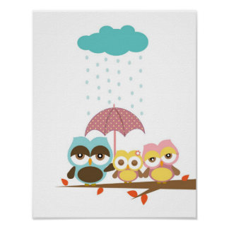 Little owl girl with mom dad under umbrella poster