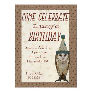 LITTLE OWL STARS Birthday Invitation