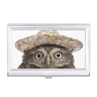 Little Owl wearing a straw hat - Athene noctua Business Card Holder