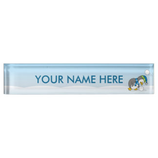 Little penguin getting a snow ball name plate