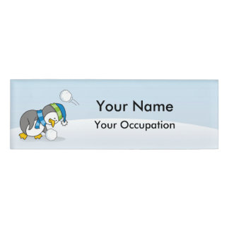 Little penguin getting a snow ball Name Tag