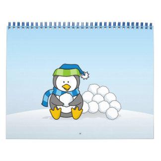 Little penguin sitting with snowballs calendar