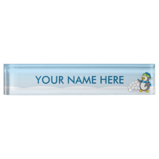 Little penguin with snow balls waving desk nameplates