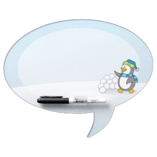 Little penguin with snow balls waving dry erase whiteboard