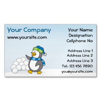 Little penguin with snow balls waving magnetic business cards