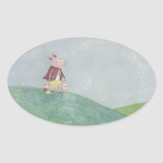 Little piglets day out oval sticker