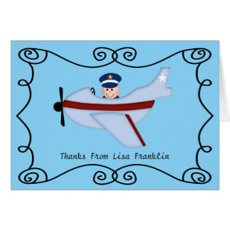 Little Pilot Baby Shower Thank You Note Greeting Card