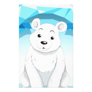 Little polar bear sitting on ice stationery