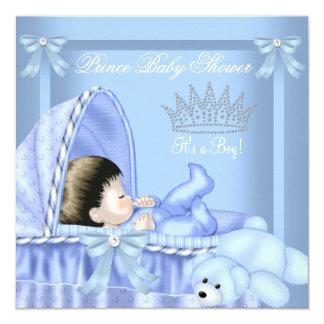 Little Prince Baby Shower Boy Blue Bassinette 2 Card