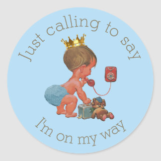 Little Prince on Phone Blue Gray Baby Shower Round Sticker