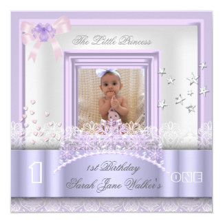 Little Princess First Birthday Party Photo Purple 13 Cm X 13 Cm Square Invitation Card