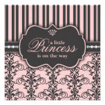Little Princess on the Way Pink Black Baby Shower Personalized Announcement