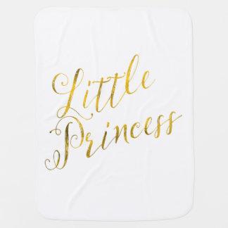 Little Princess Quote Faux Gold Foil Glitter Receiving Blanket