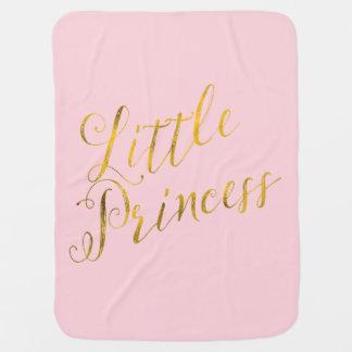 Little Princess Quote Faux Gold Foil Glitter Pink Stroller Blanket