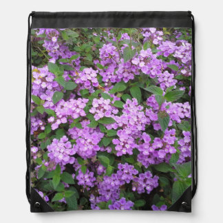 Little Purple Flowers Drawstring Bag