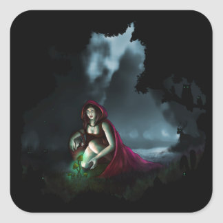 Little Red Riding Hood & the Magic Mushrooms Square Sticker