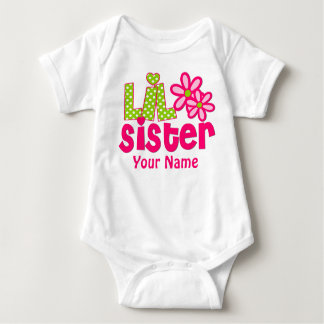 Little Sister Pink and Green Personalised Shirt
