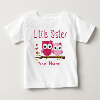 Little Sister Pink Owl Personalised T Shirt
