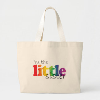 Little Sister - rainbow flowers Large Tote Bag