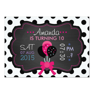 Little Starlet Movie-Star Cinema Night Chalkboard 13 Cm X 18 Cm Invitation Card