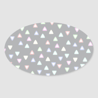 LITTLE TRIANGLE HILLS PATTERN IN PASTEL COLORS OVAL STICKER