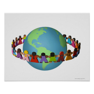 Little wooden dolls of varied ethnicities poster