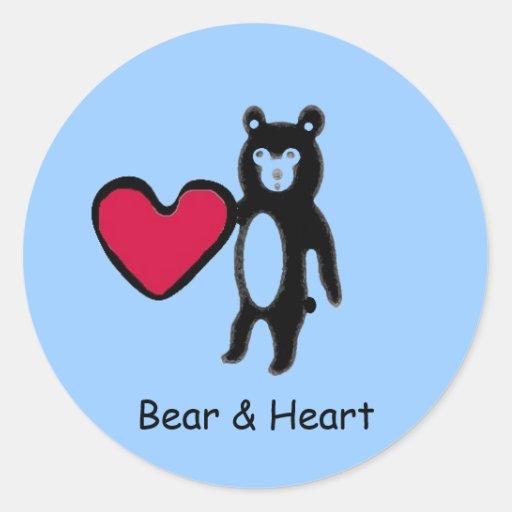 littlebb, redheart.jp, Bear & Heart Round Stickers