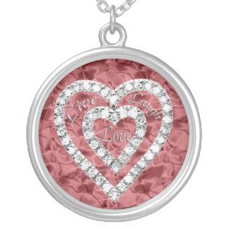 Live Laugh Love Diamond Heart Necklace
