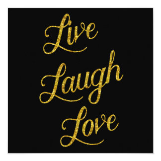 Live Laugh Love Gold Faux Glitter Metallic Sequins Card