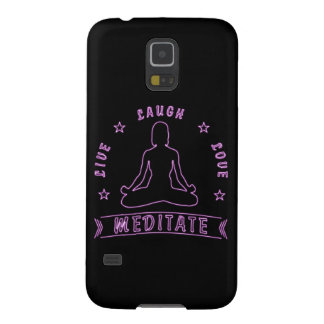 Live Laugh Love Meditate Female Text (neon) Galaxy S5 Cover