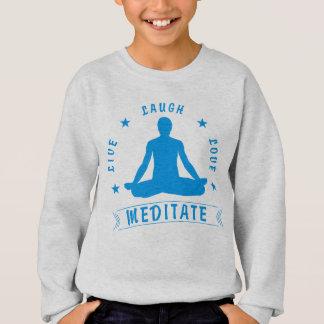 Live Laugh Love Meditate Male Text (blue) Sweatshirt