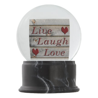 Live Laugh Love on the side of a barn Snow Globe