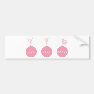 Live Love Dance Ballerinas - Pink - Bumper Sticker