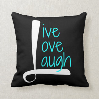 Live Love Laugh Pillow, White & Aqua on Black Throw Pillow
